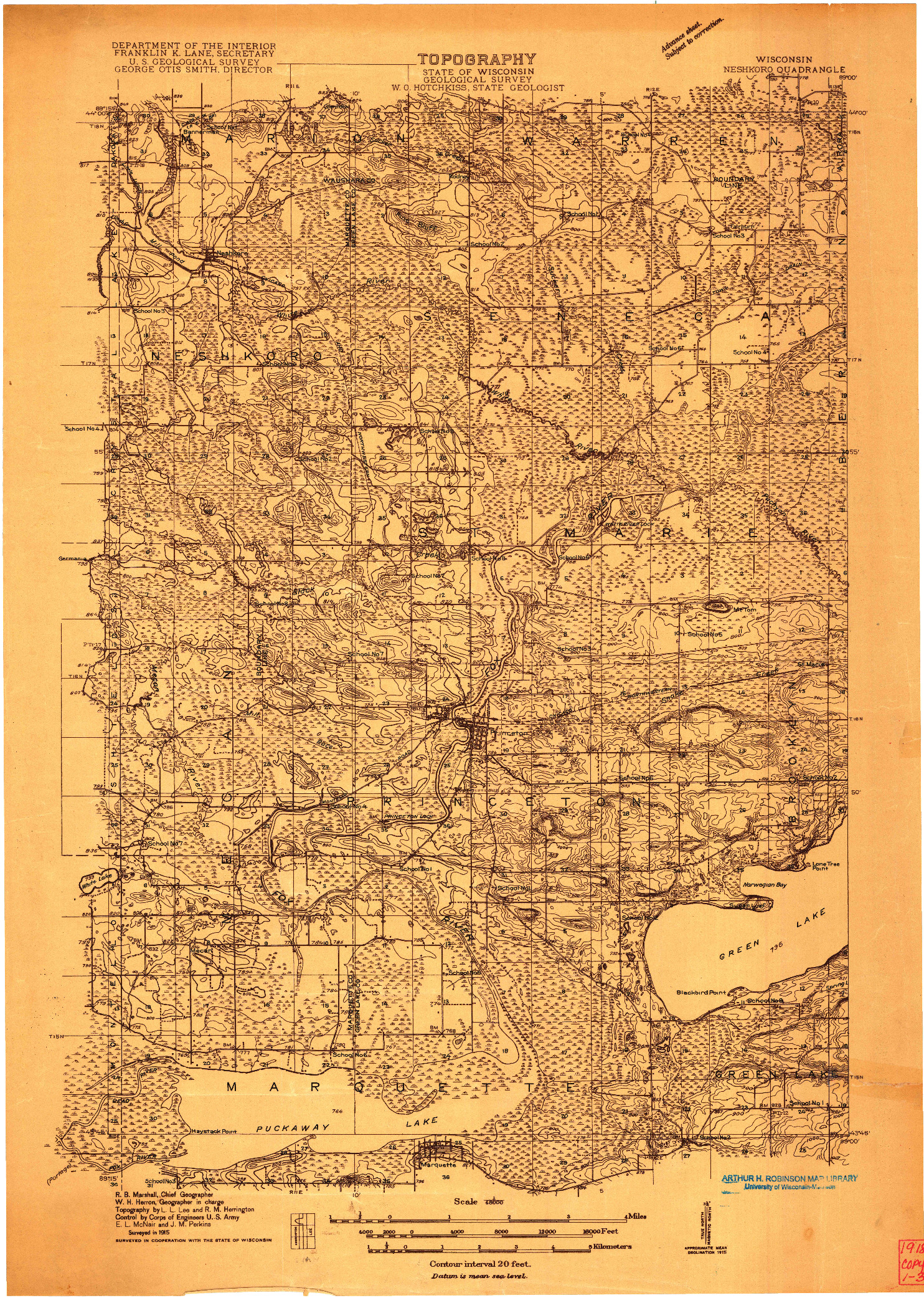 USGS 1:48000-SCALE QUADRANGLE FOR NESHKORO, WI 1915