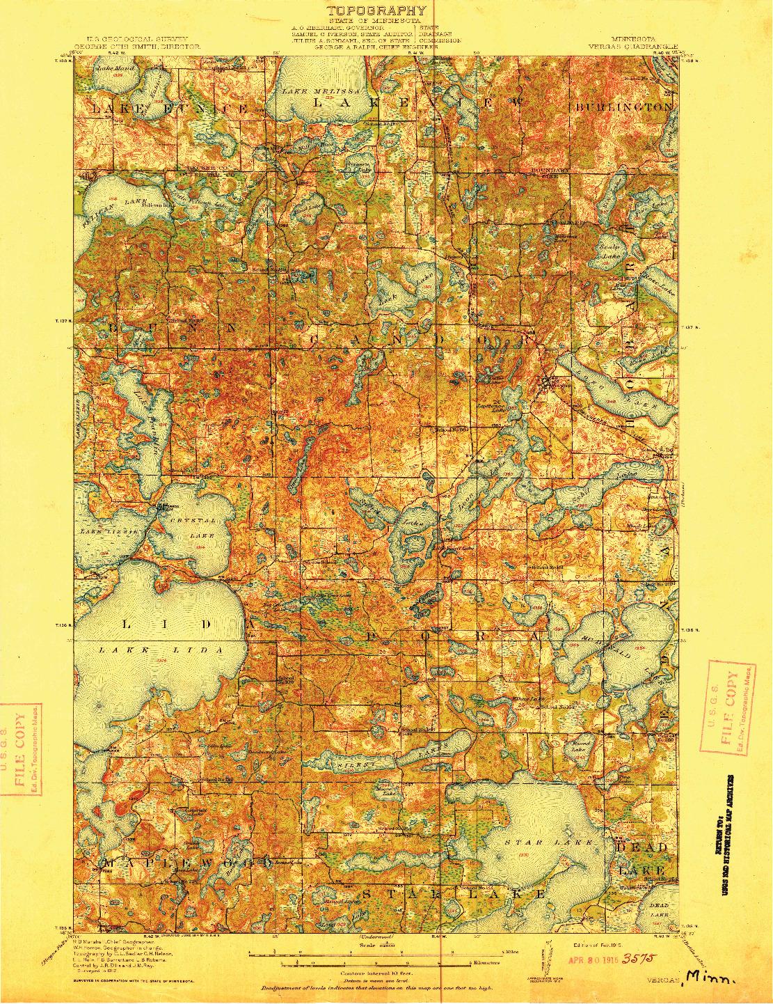 USGS 1:62500-SCALE QUADRANGLE FOR VERGAS, MN 1915