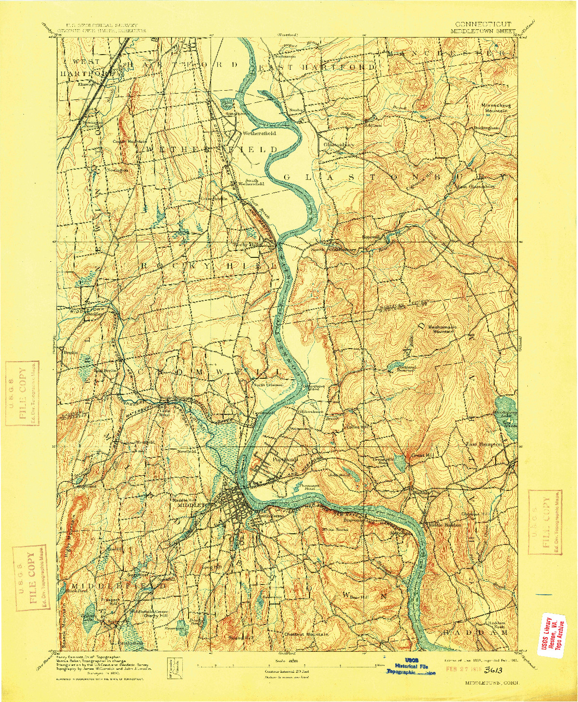 USGS 1:62500-SCALE QUADRANGLE FOR MIDDLETOWN, CT 1893
