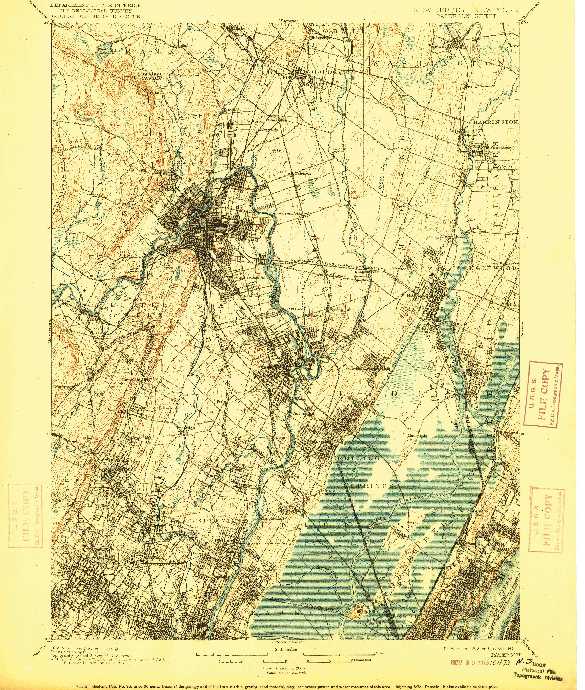 USGS 1:62500-SCALE QUADRANGLE FOR PATERSON, NJ 1903