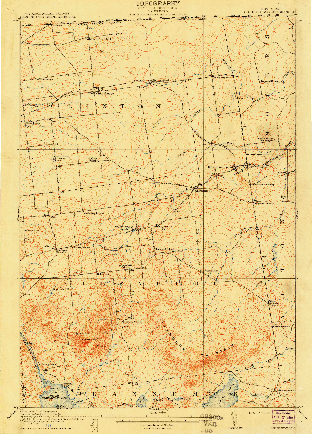 USGS 1:62500-SCALE QUADRANGLE FOR CHURUBUSCO, NY 1915