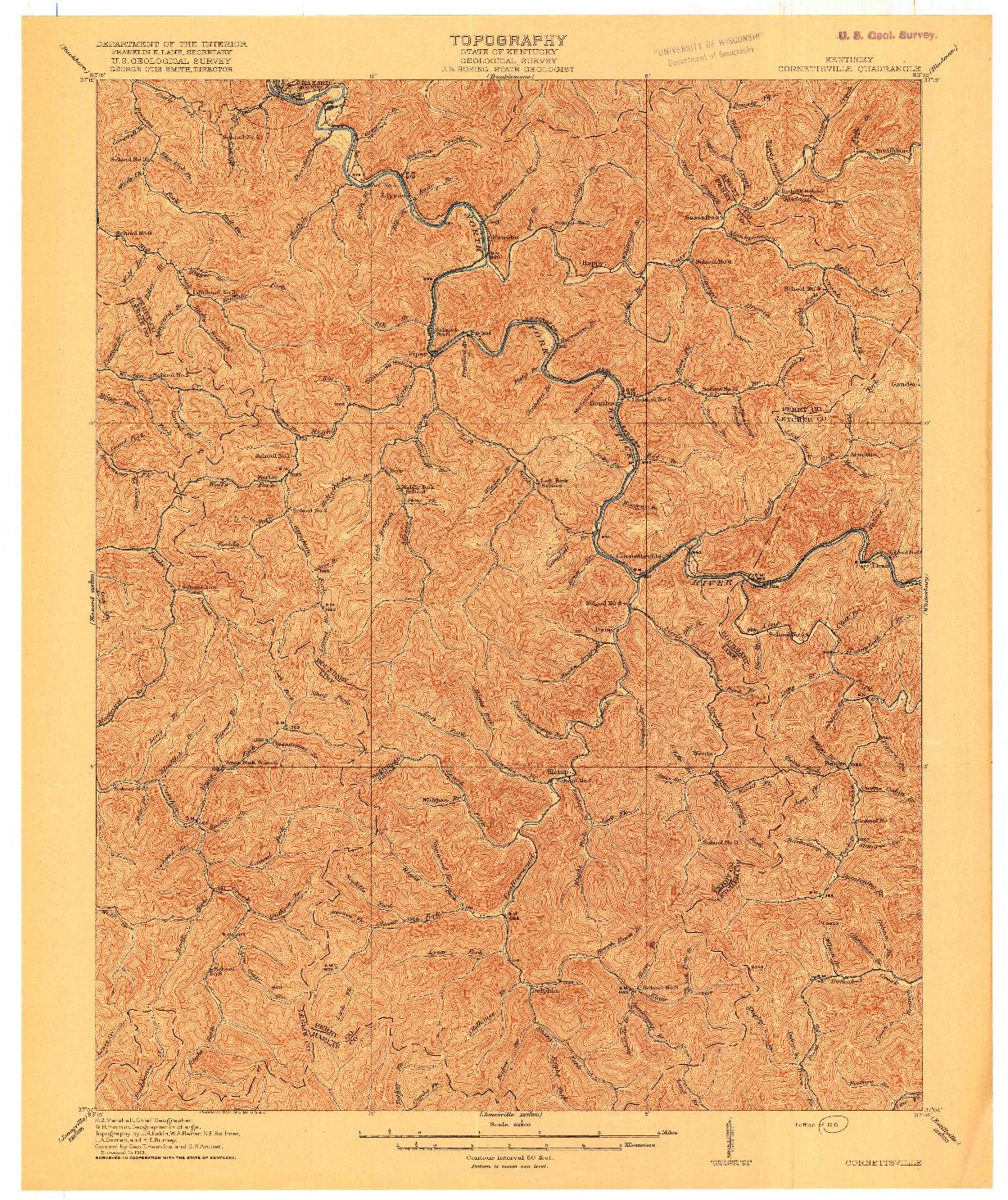 USGS 1:62500-SCALE QUADRANGLE FOR CORNETTSVILLE, KY 1916