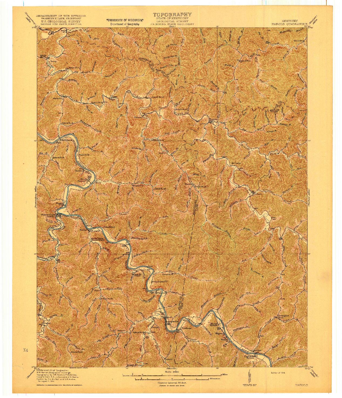 USGS 1:62500-SCALE QUADRANGLE FOR HAROLD, KY 1916