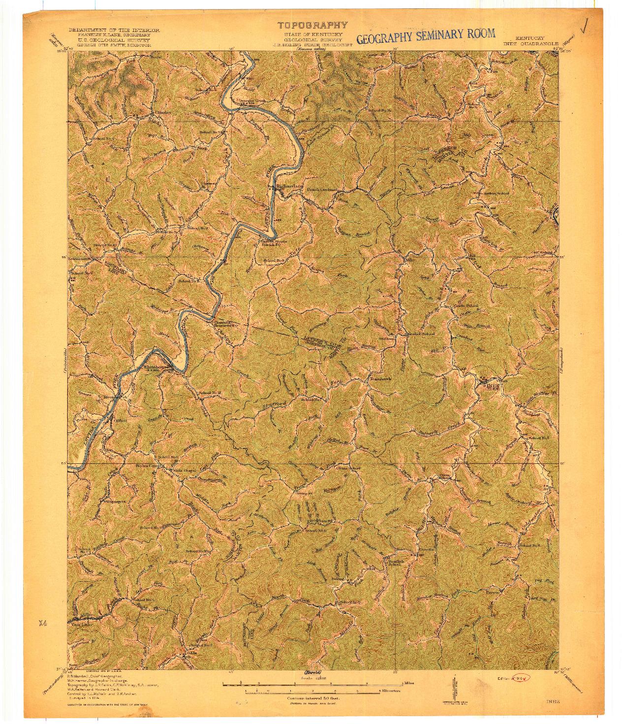 USGS 1:62500-SCALE QUADRANGLE FOR INEZ, KY 1916