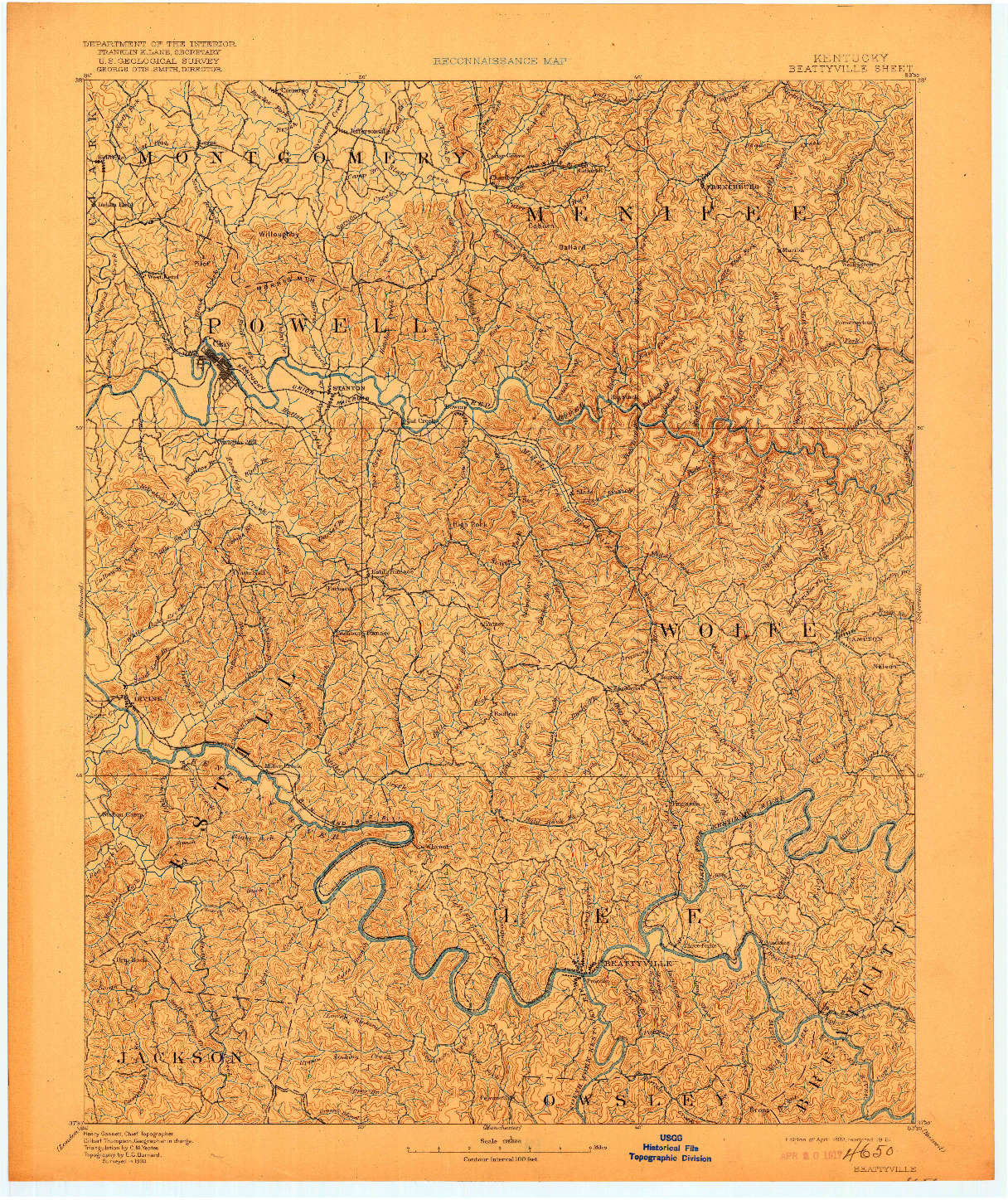 USGS 1:125000-SCALE QUADRANGLE FOR BEATTYVILLE, KY 1892