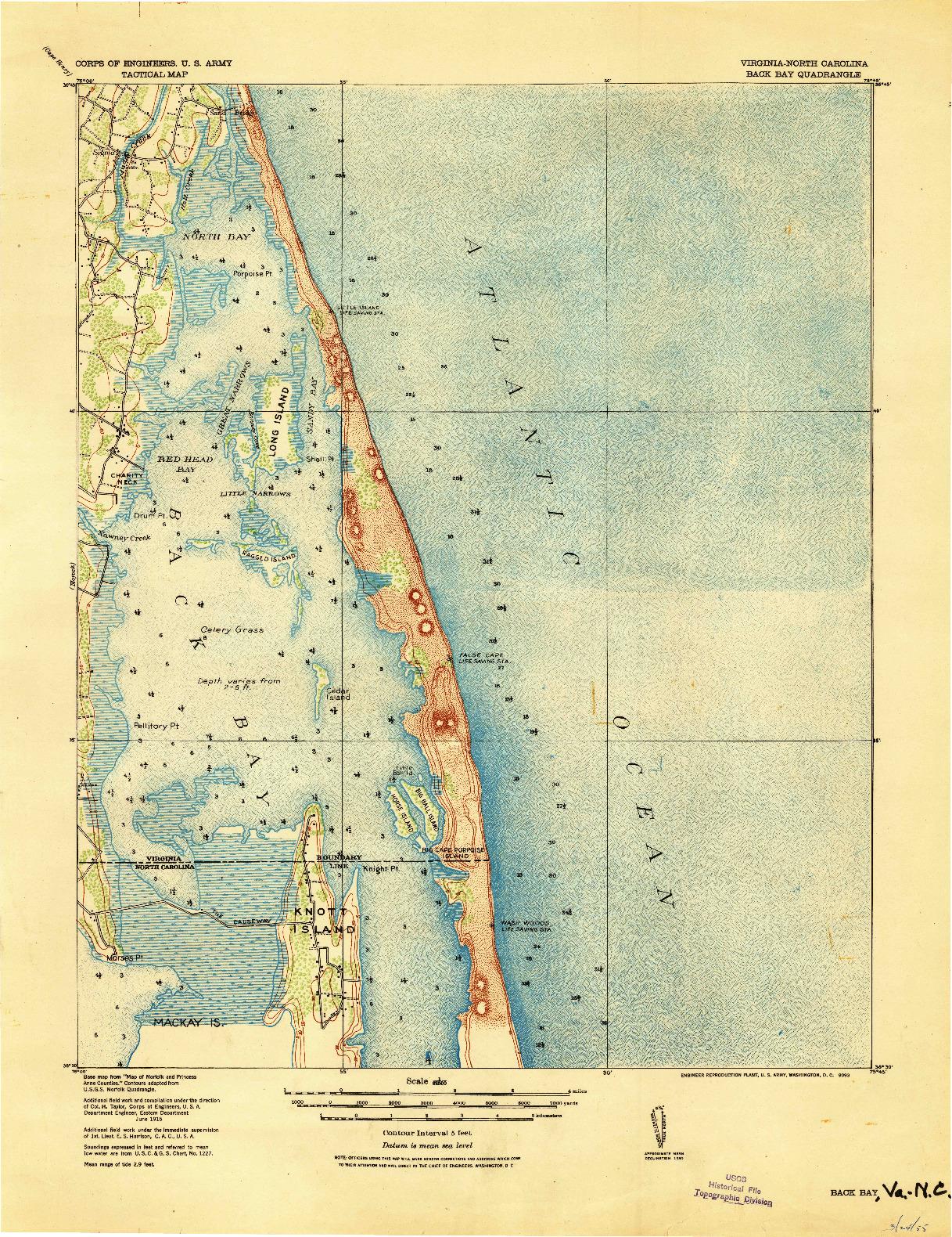 USGS 1:62500-SCALE QUADRANGLE FOR BACK BAY, VA 1916