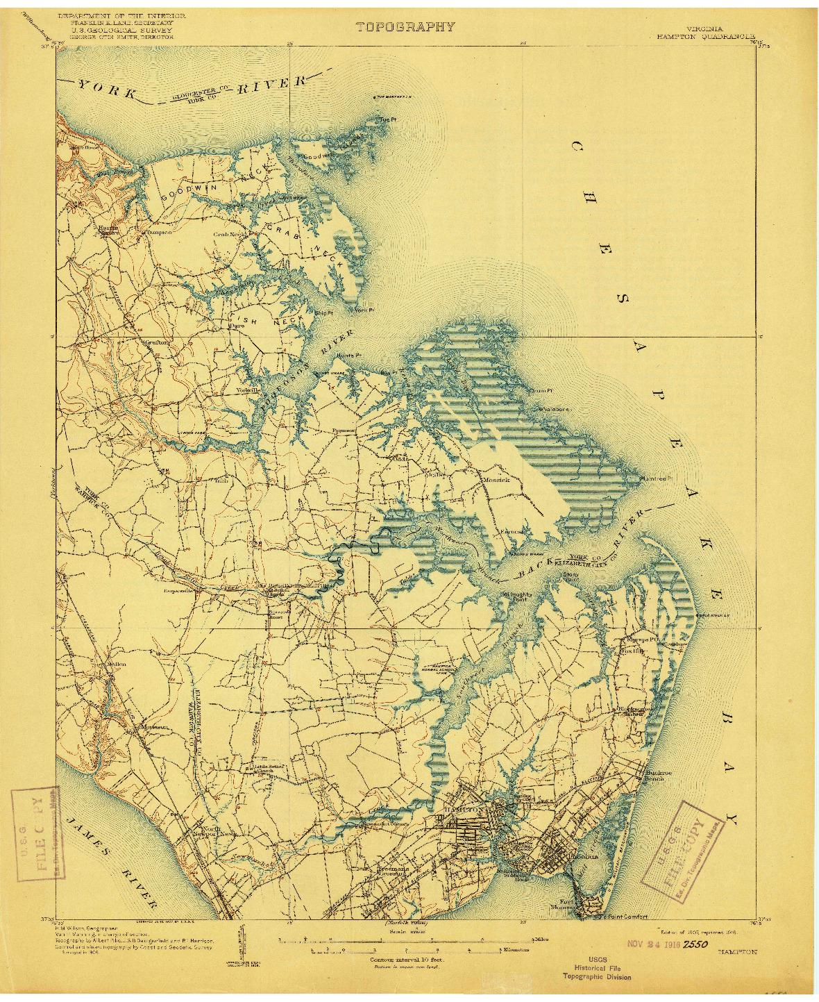USGS 1:62500-SCALE QUADRANGLE FOR HAMPTON, VA 1907