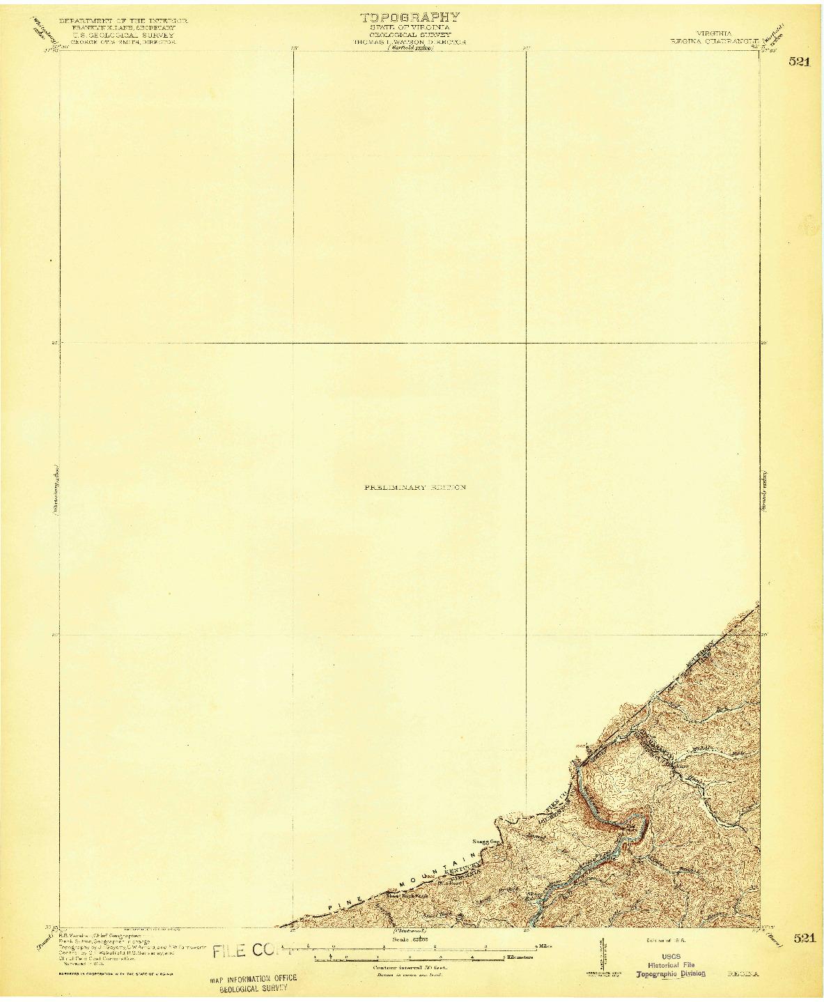 USGS 1:62500-SCALE QUADRANGLE FOR REGINA, VA 1916