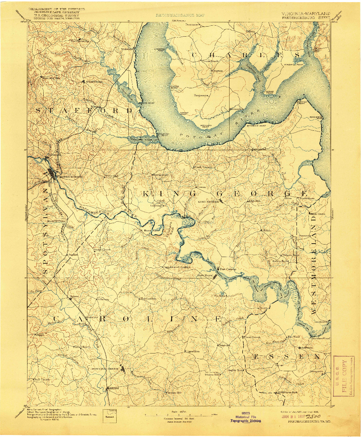USGS 1:125000-SCALE QUADRANGLE FOR FREDERICKSBURG, VA 1894