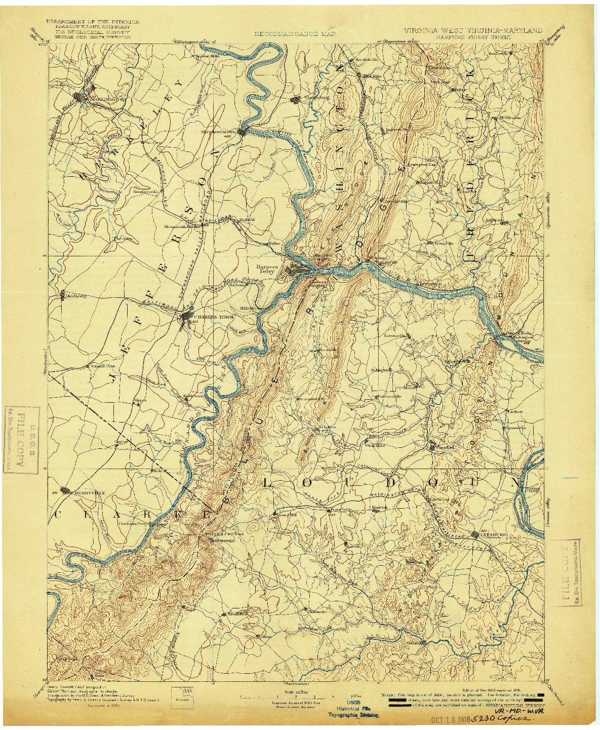 USGS 1:125000-SCALE QUADRANGLE FOR HARPERS FERRY, VA 1893