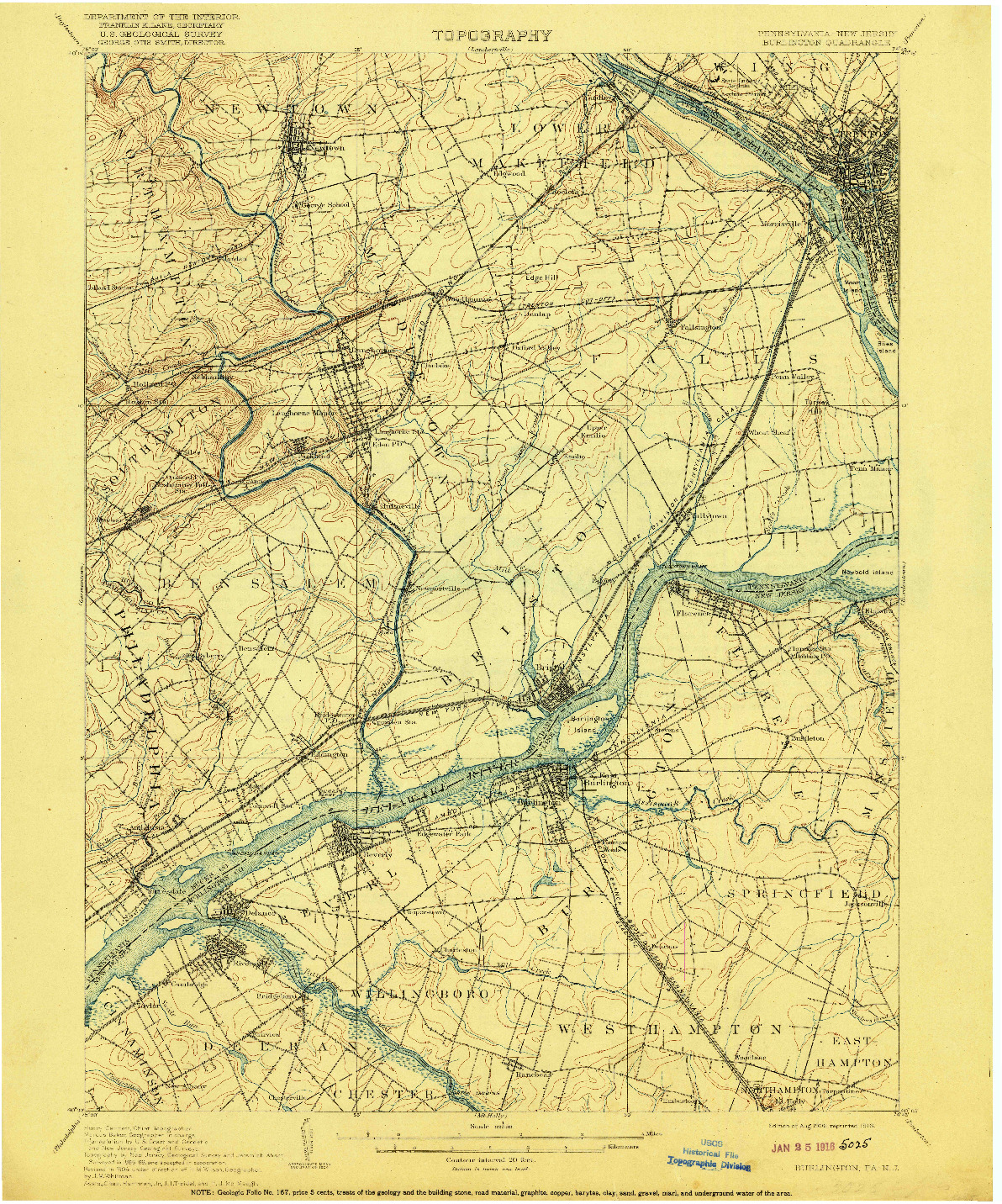 USGS 1:62500-SCALE QUADRANGLE FOR BURLINGTON, PA 1906