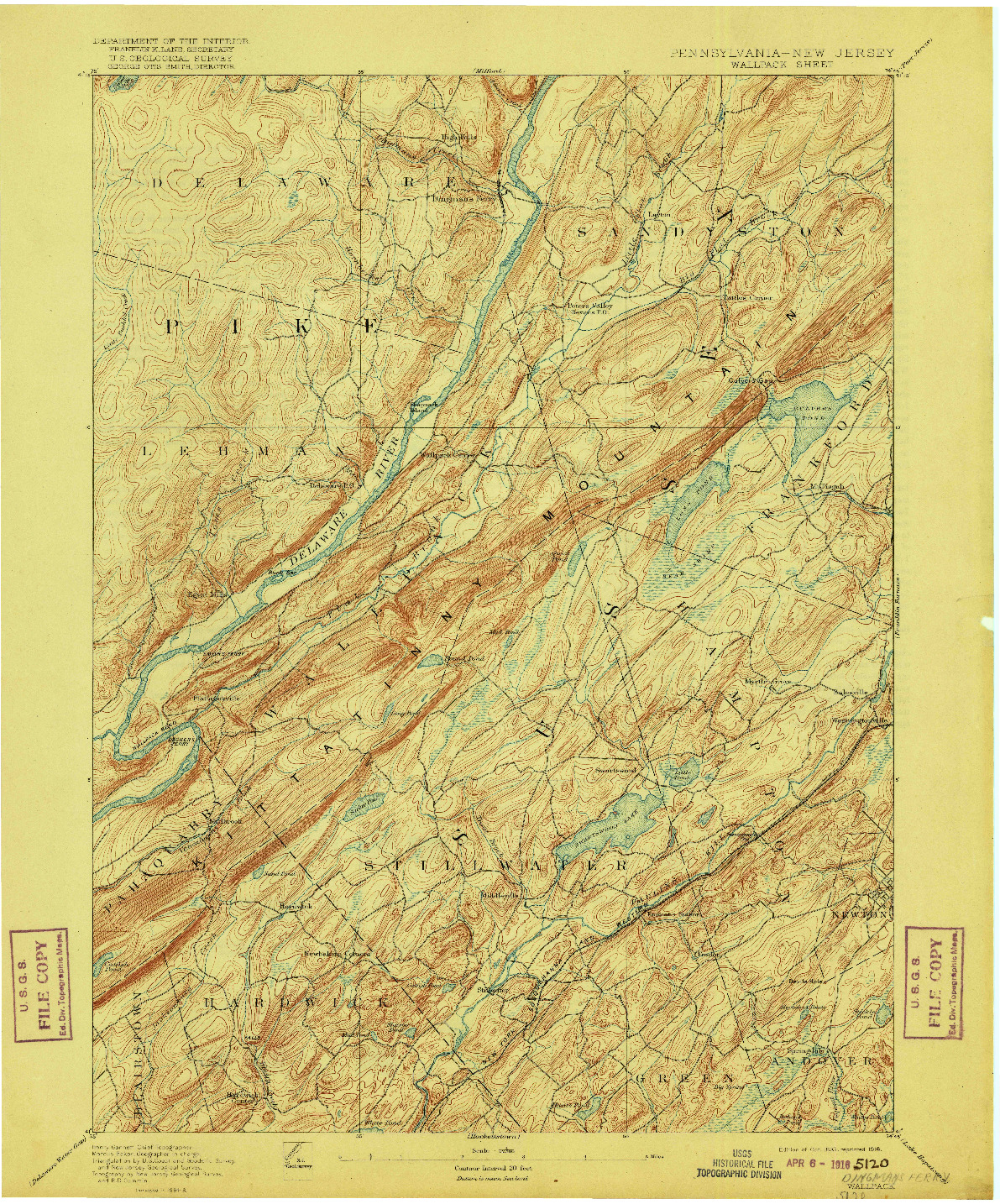 USGS 1:62500-SCALE QUADRANGLE FOR WALLPACK, PA 1893