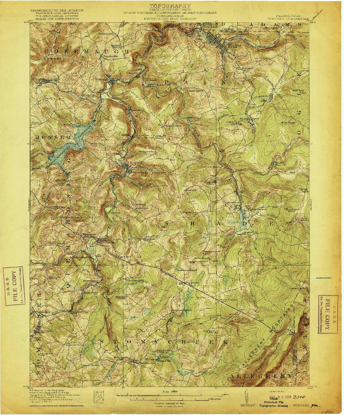 USGS 1:62500-SCALE QUADRANGLE FOR WINDBER, PA 1916