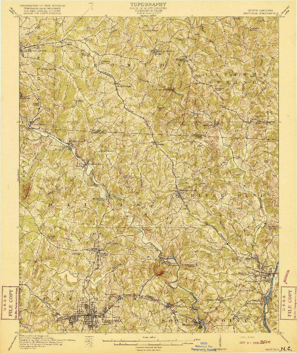USGS 1:62500-SCALE QUADRANGLE FOR GASTONIA, NC 1916