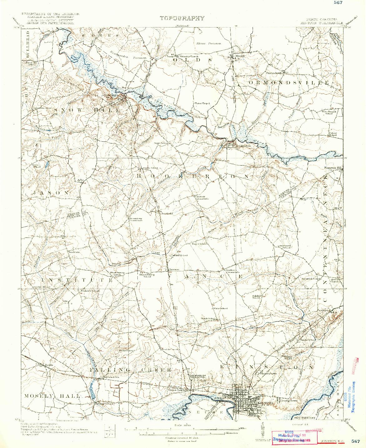USGS 1:62500-SCALE QUADRANGLE FOR KINSTON, NC 1916