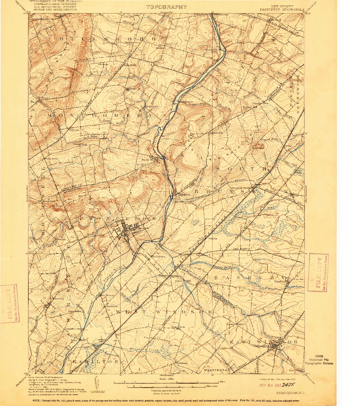 USGS 1:62500-SCALE QUADRANGLE FOR PRINCETON, NJ 1906