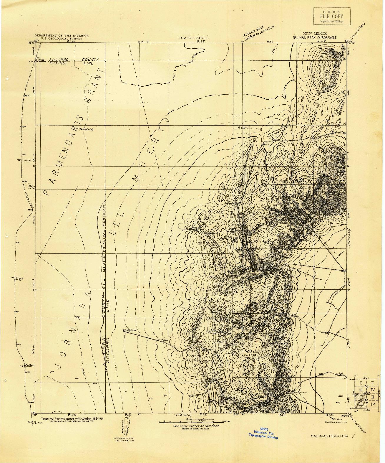 USGS 1:125000-SCALE QUADRANGLE FOR SALINAS PEAK, NM 1916
