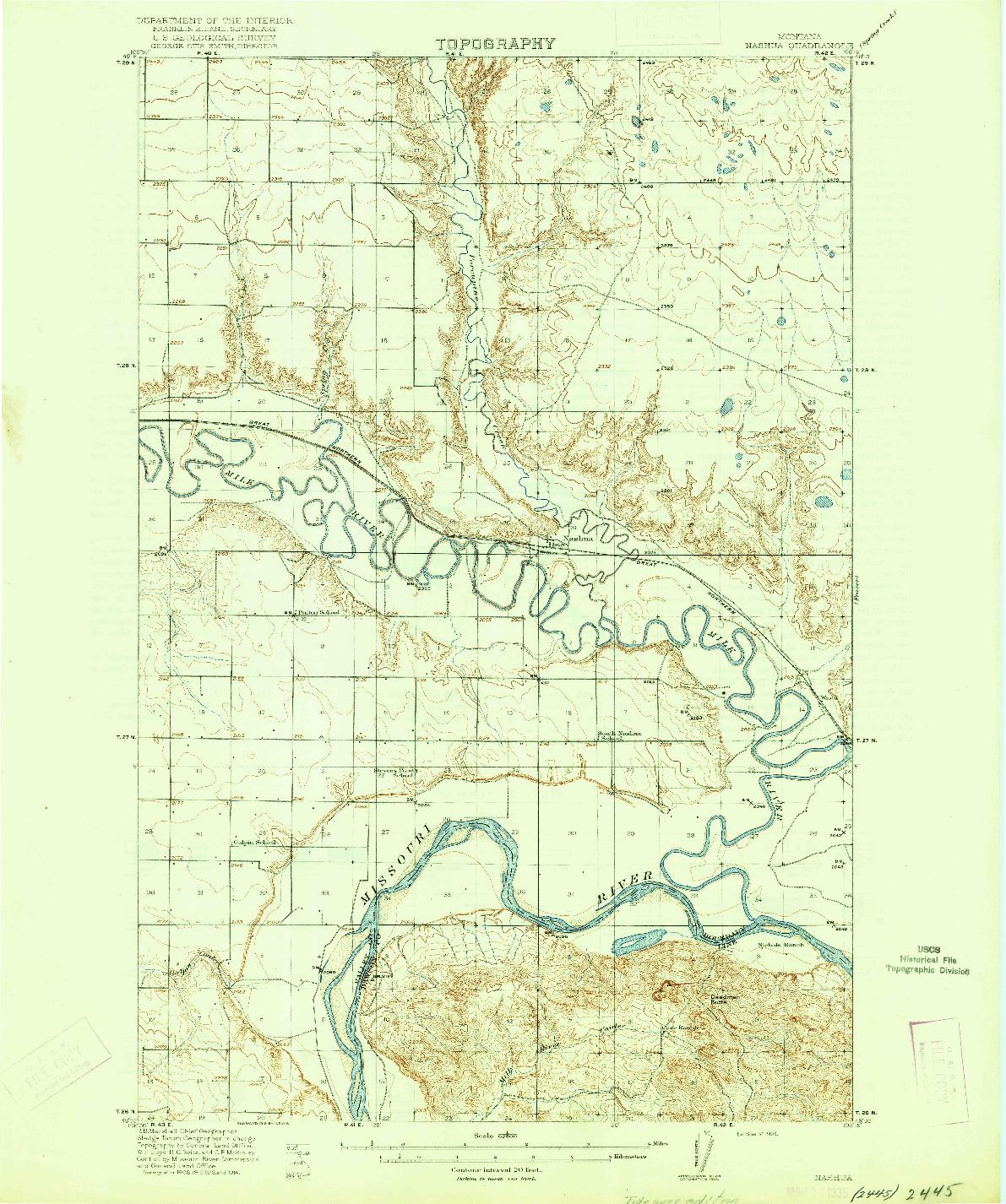 USGS 1:62500-SCALE QUADRANGLE FOR NASHUA, MT 1916