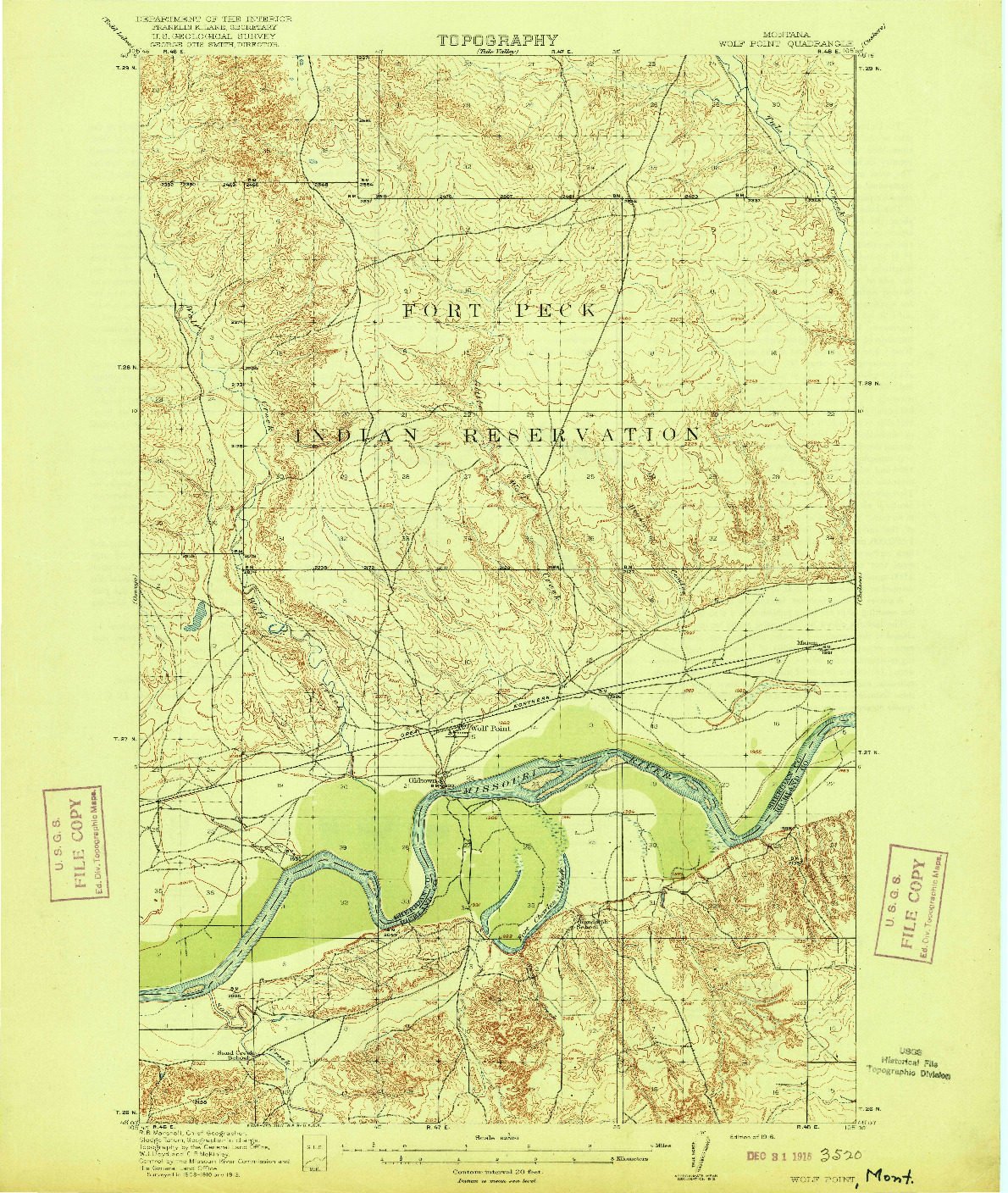 USGS 1:62500-SCALE QUADRANGLE FOR WOLF POINT, MT 1916