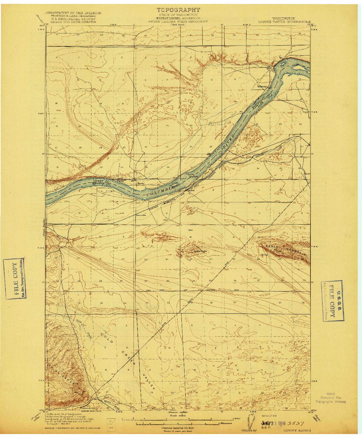 USGS 1:62500-SCALE QUADRANGLE FOR COYOTE RAPIDS, WA 1916