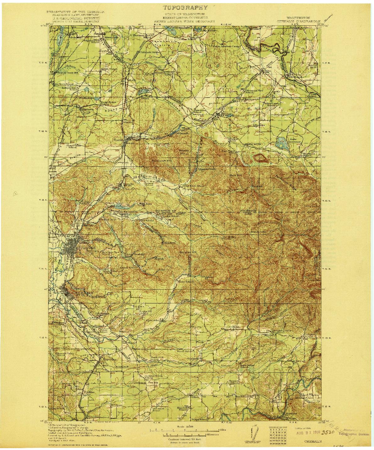 USGS 1:125000-SCALE QUADRANGLE FOR CHEHALIS, WA 1916