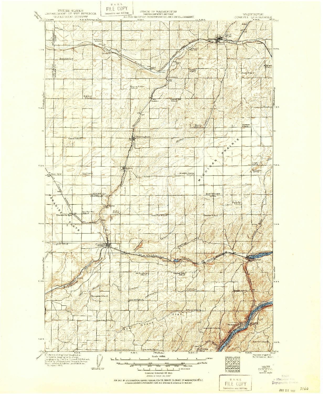 USGS 1:125000-SCALE QUADRANGLE FOR CONNELL, WA 1916