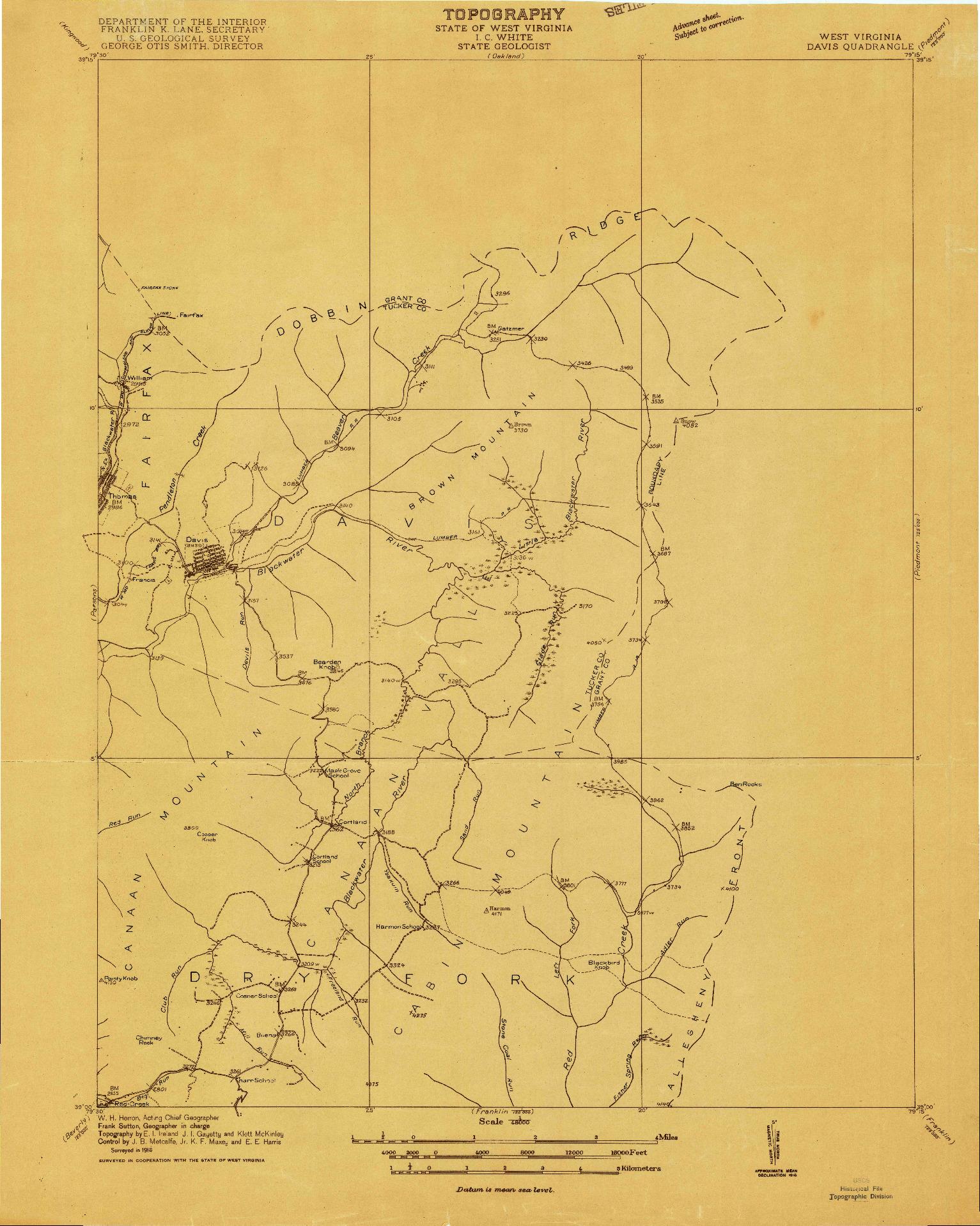USGS 1:48000-SCALE QUADRANGLE FOR DAVIS, WV 1916