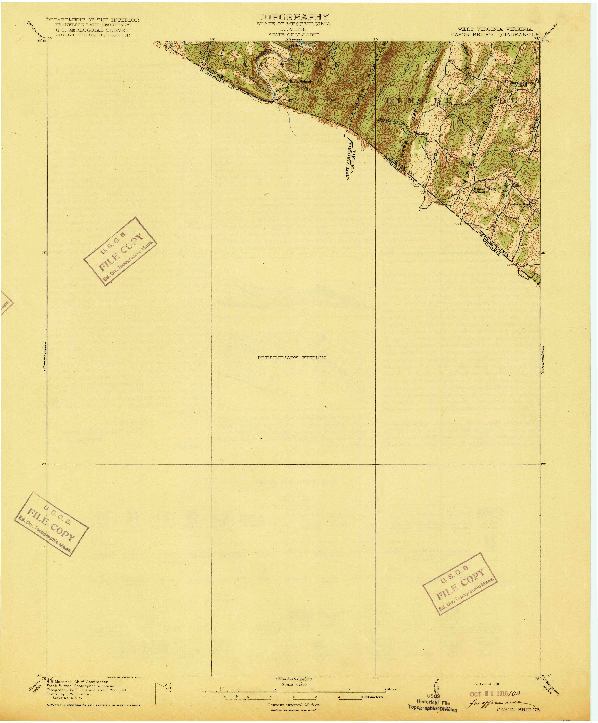 USGS 1:62500-SCALE QUADRANGLE FOR CAPON BRIDGE, WV 1916