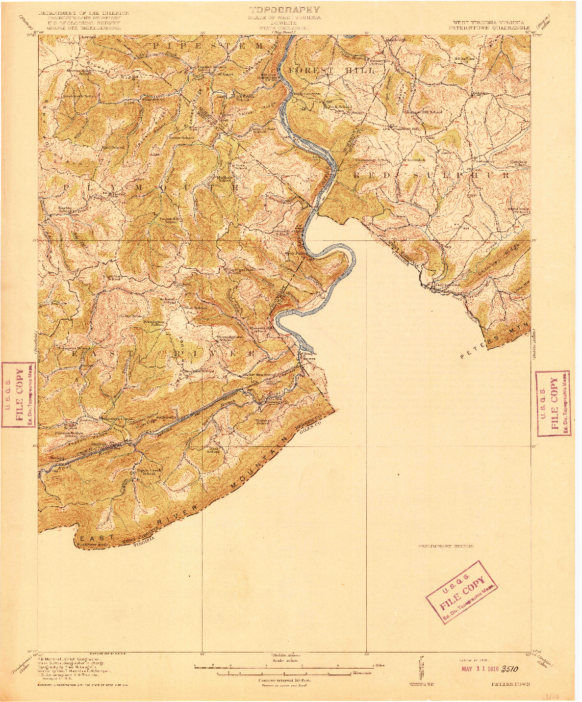 USGS 1:62500-SCALE QUADRANGLE FOR PETERSTOWN, WV 1916