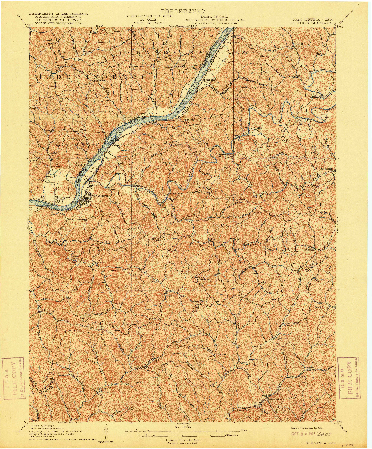USGS 1:62500-SCALE QUADRANGLE FOR ST MARYS, WV 1906