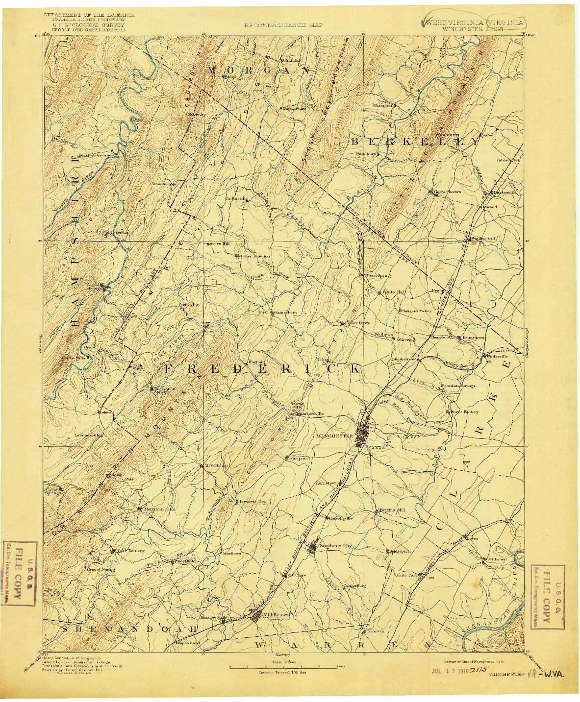 USGS 1:125000-SCALE QUADRANGLE FOR WINCHESTER, WV 1894
