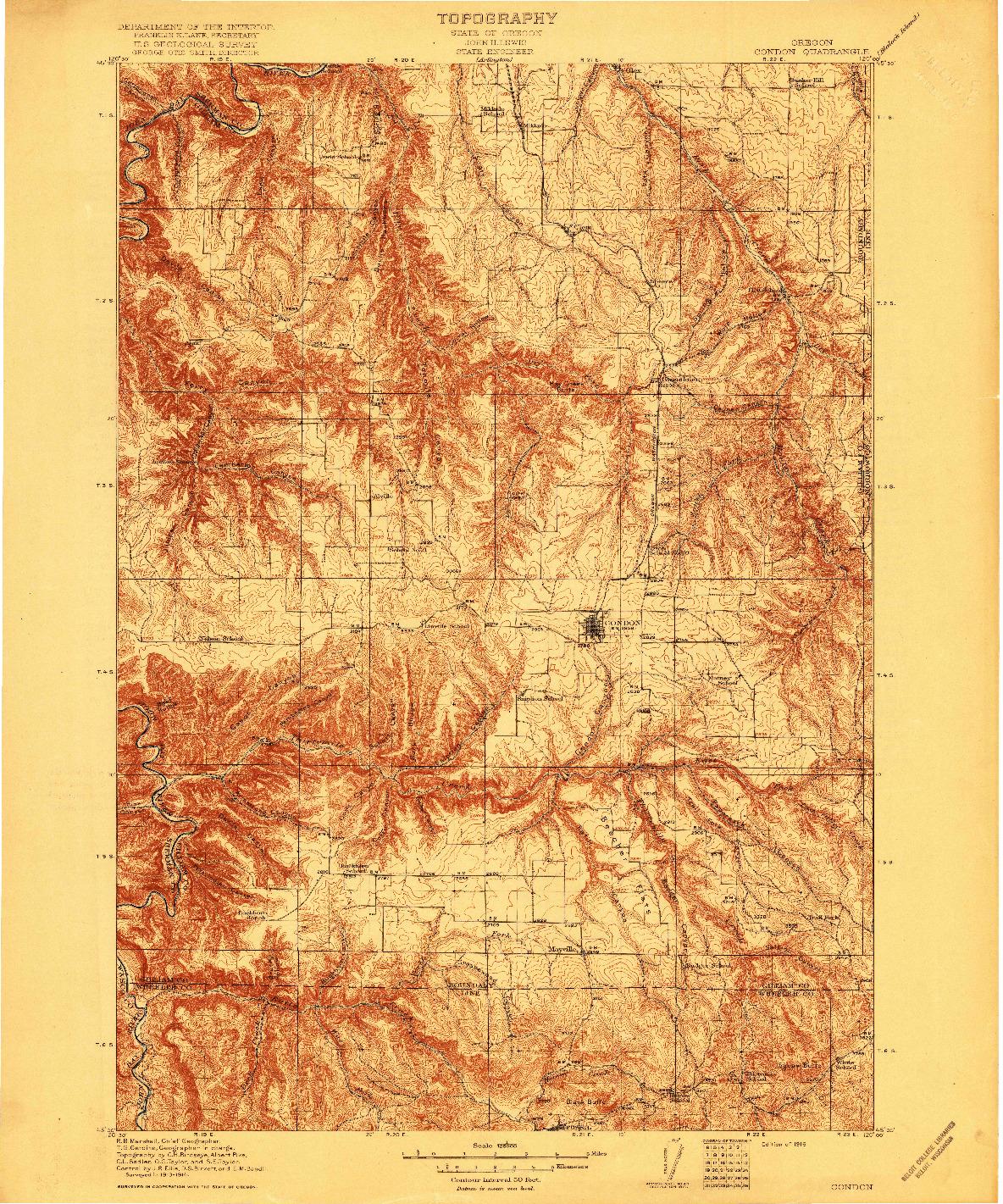 USGS 1:125000-SCALE QUADRANGLE FOR CONDON, OR 1916