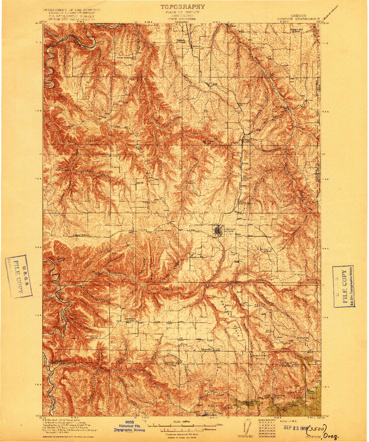USGS 1:125000-SCALE QUADRANGLE FOR CONDON, OR 1916