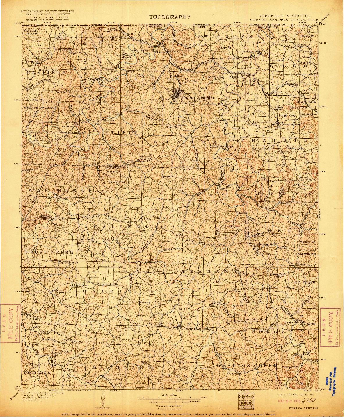 USGS 1:125000-SCALE QUADRANGLE FOR EUREKA SPRINGS, AR 1901