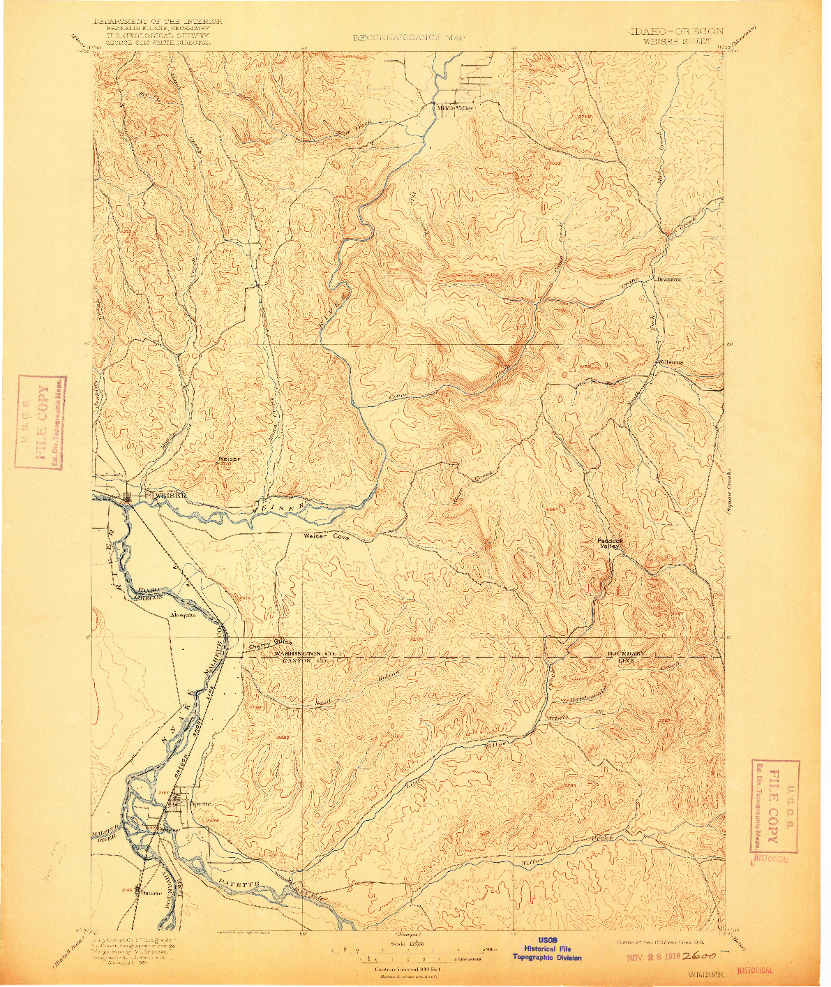 USGS 1:125000-SCALE QUADRANGLE FOR WEISER, ID 1897