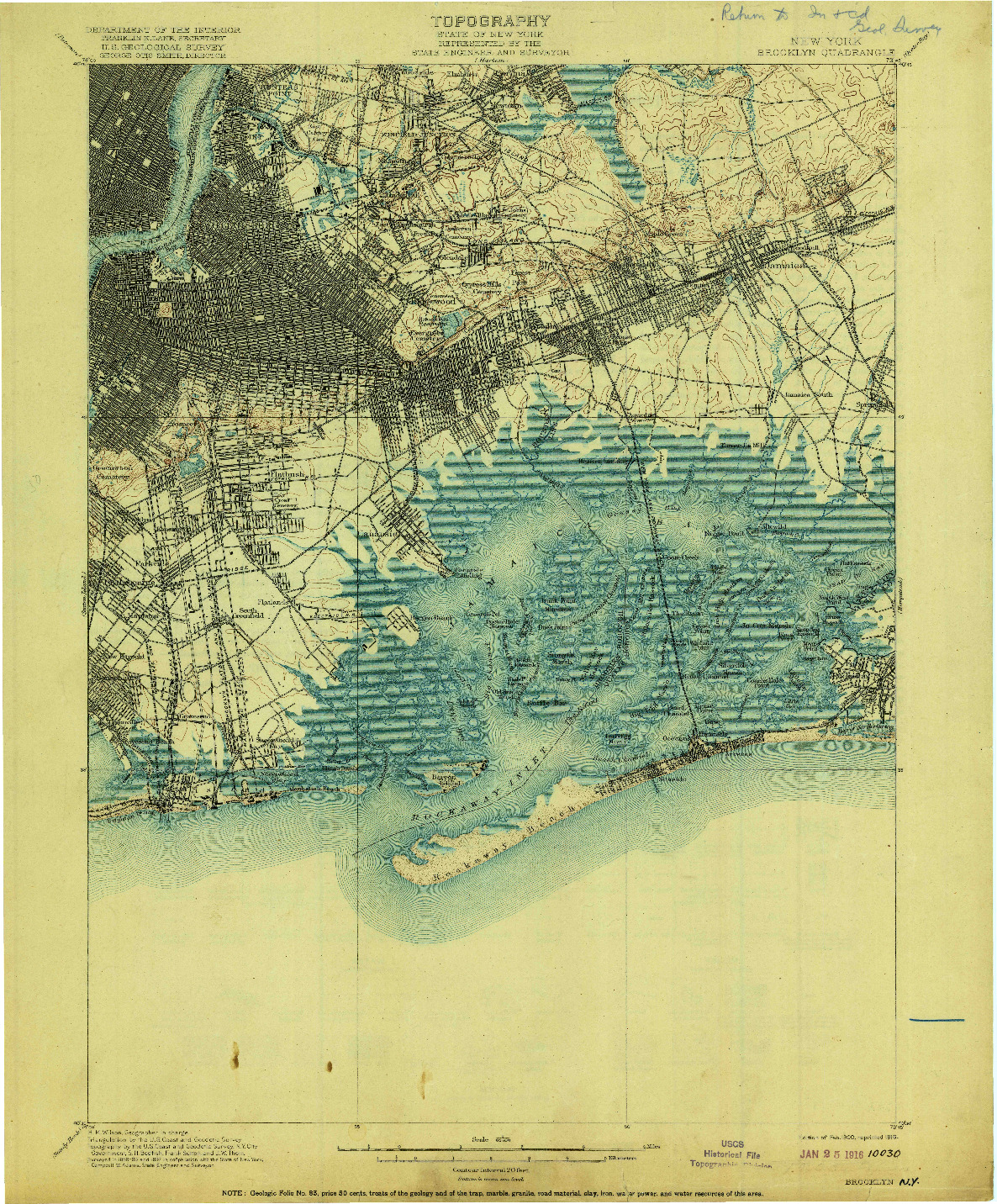 USGS 1:62500-SCALE QUADRANGLE FOR BROOKLYN, NY 1900