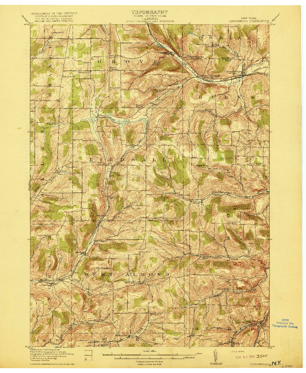 USGS 1:62500-SCALE QUADRANGLE FOR CANASERAGA, NY 1916
