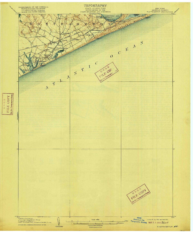 USGS 1:62500-SCALE QUADRANGLE FOR EASTHAMPTON, NY 1904