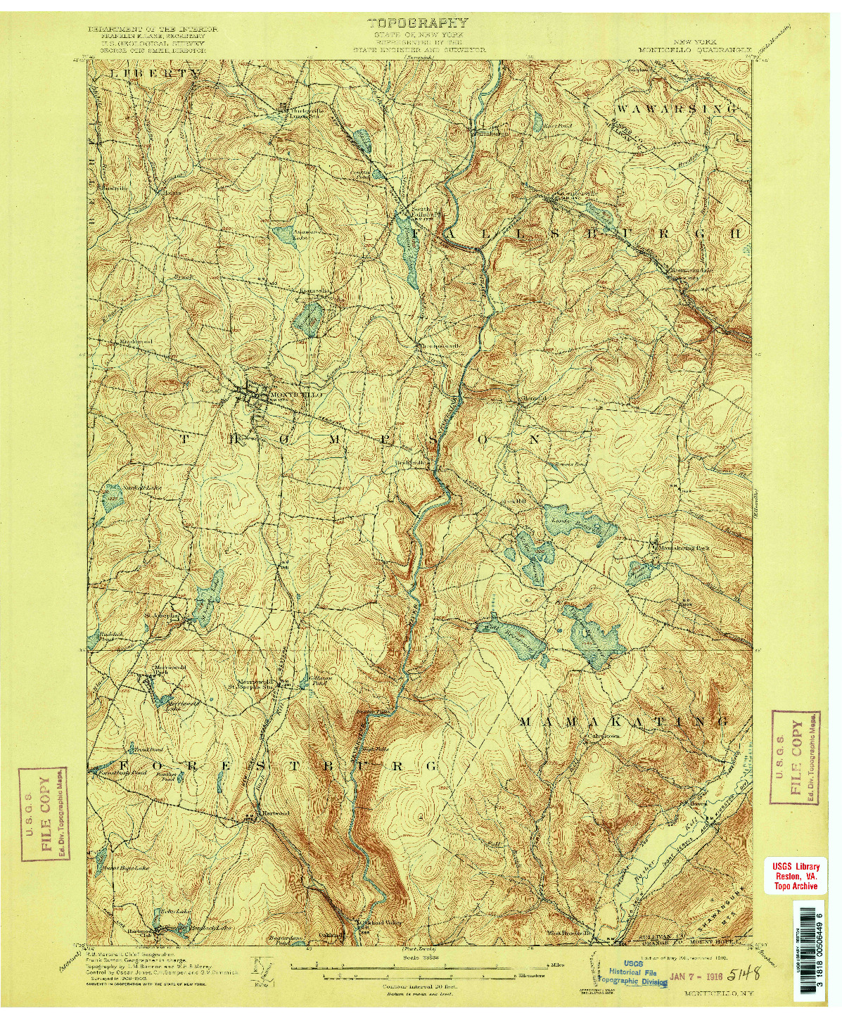 USGS 1:62500-SCALE QUADRANGLE FOR MONTICELLO, NY 1911