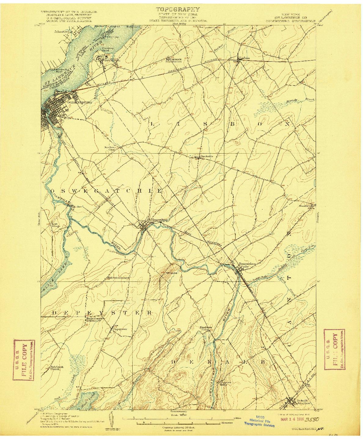 USGS 1:62500-SCALE QUADRANGLE FOR OGDENSBURG, NY 1905