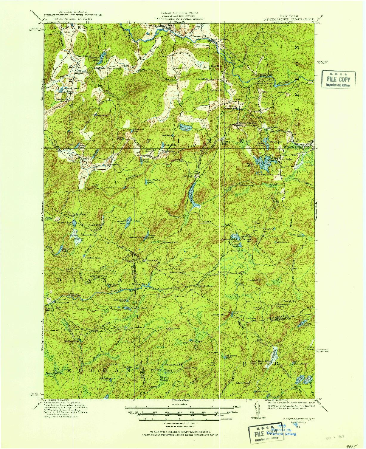 USGS 1:62500-SCALE QUADRANGLE FOR OSWEGATCHIE, NY 1916