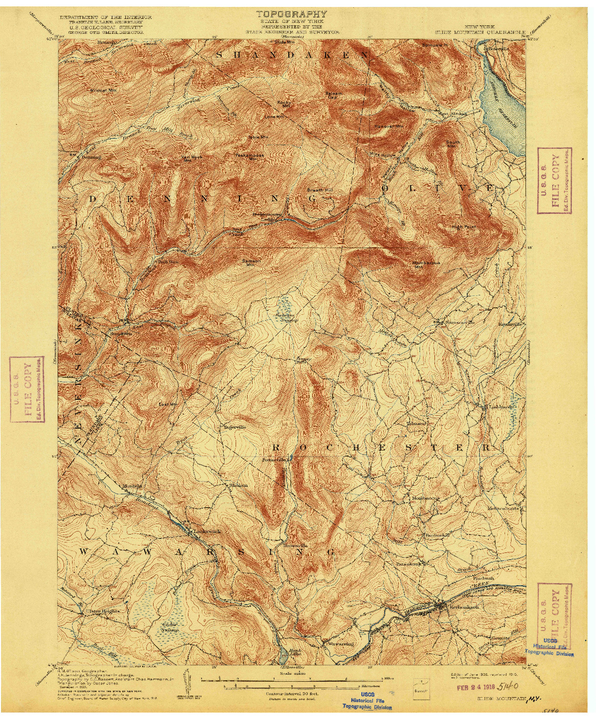 USGS 1:62500-SCALE QUADRANGLE FOR SLIDE MOUNTAIN, NY 1905