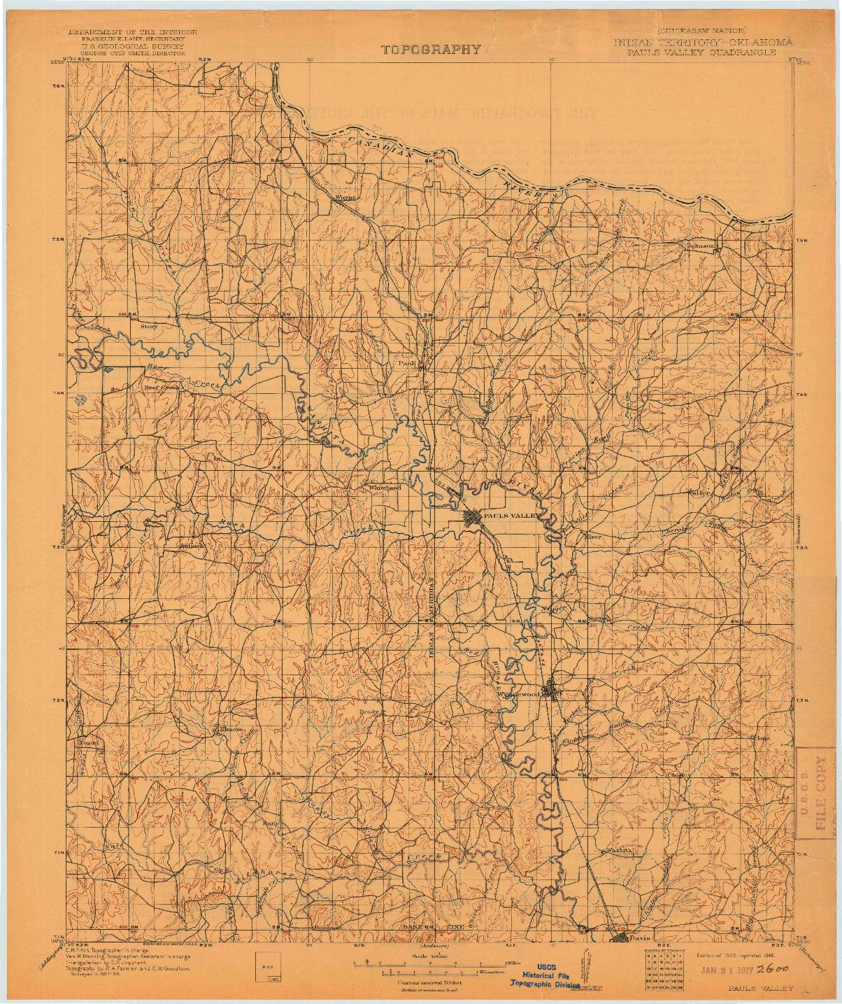USGS 1:125000-SCALE QUADRANGLE FOR PAULS VALLEY, IT 1902