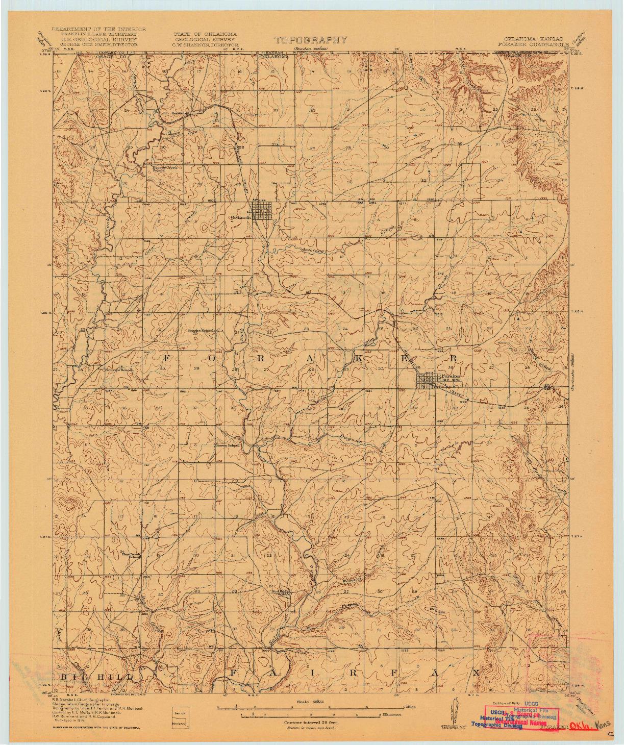 USGS 1:62500-SCALE QUADRANGLE FOR FORAKER, OK 1916