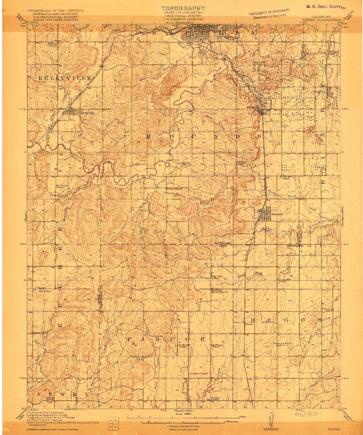 USGS 1:62500-SCALE QUADRANGLE FOR KIEFER, OK 1916