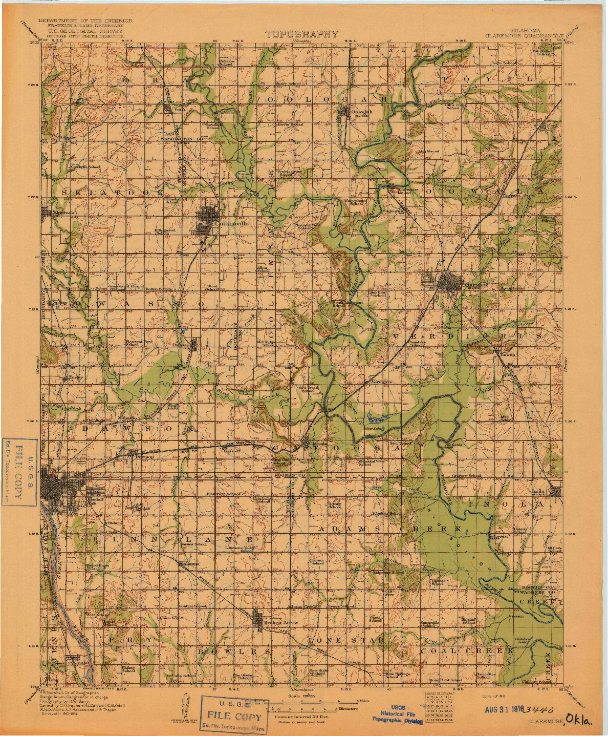 USGS 1:125000-SCALE QUADRANGLE FOR CLAREMORE, OK 1916
