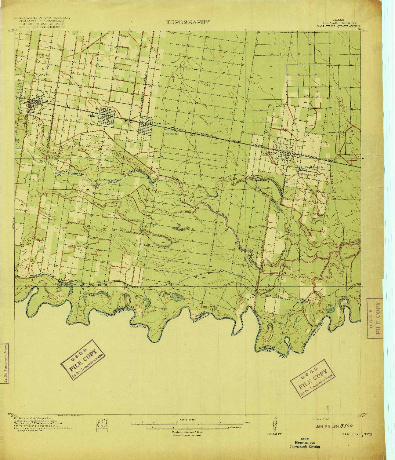 USGS 1:62500-SCALE QUADRANGLE FOR SAN JUAN, TX 1916