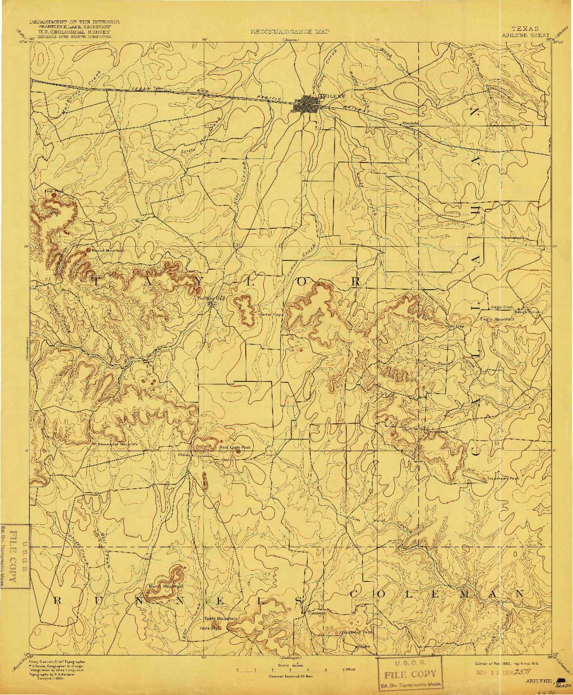 USGS 1:125000-SCALE QUADRANGLE FOR ABILENE, TX 1892
