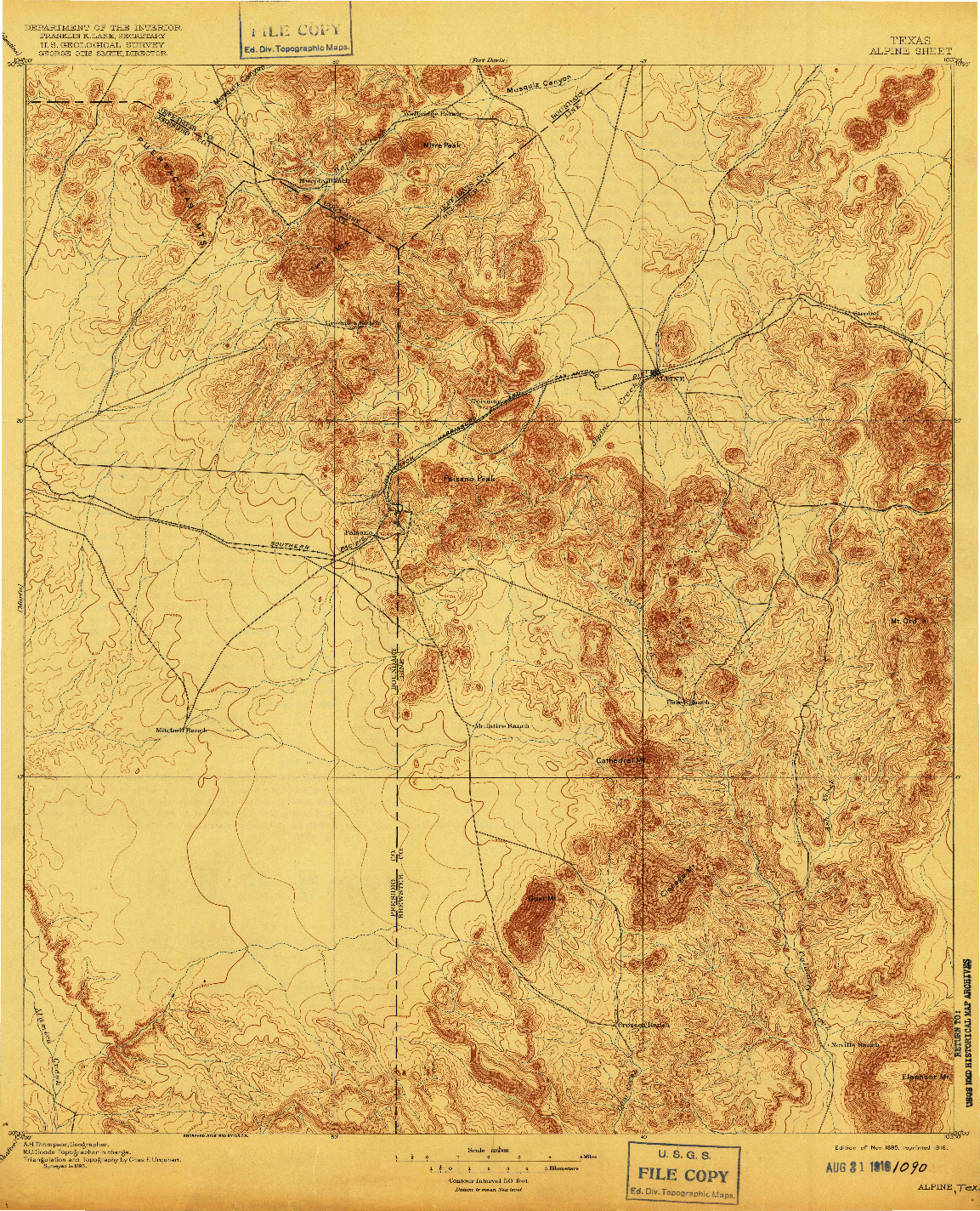 USGS 1:125000-SCALE QUADRANGLE FOR ALPINE, TX 1895