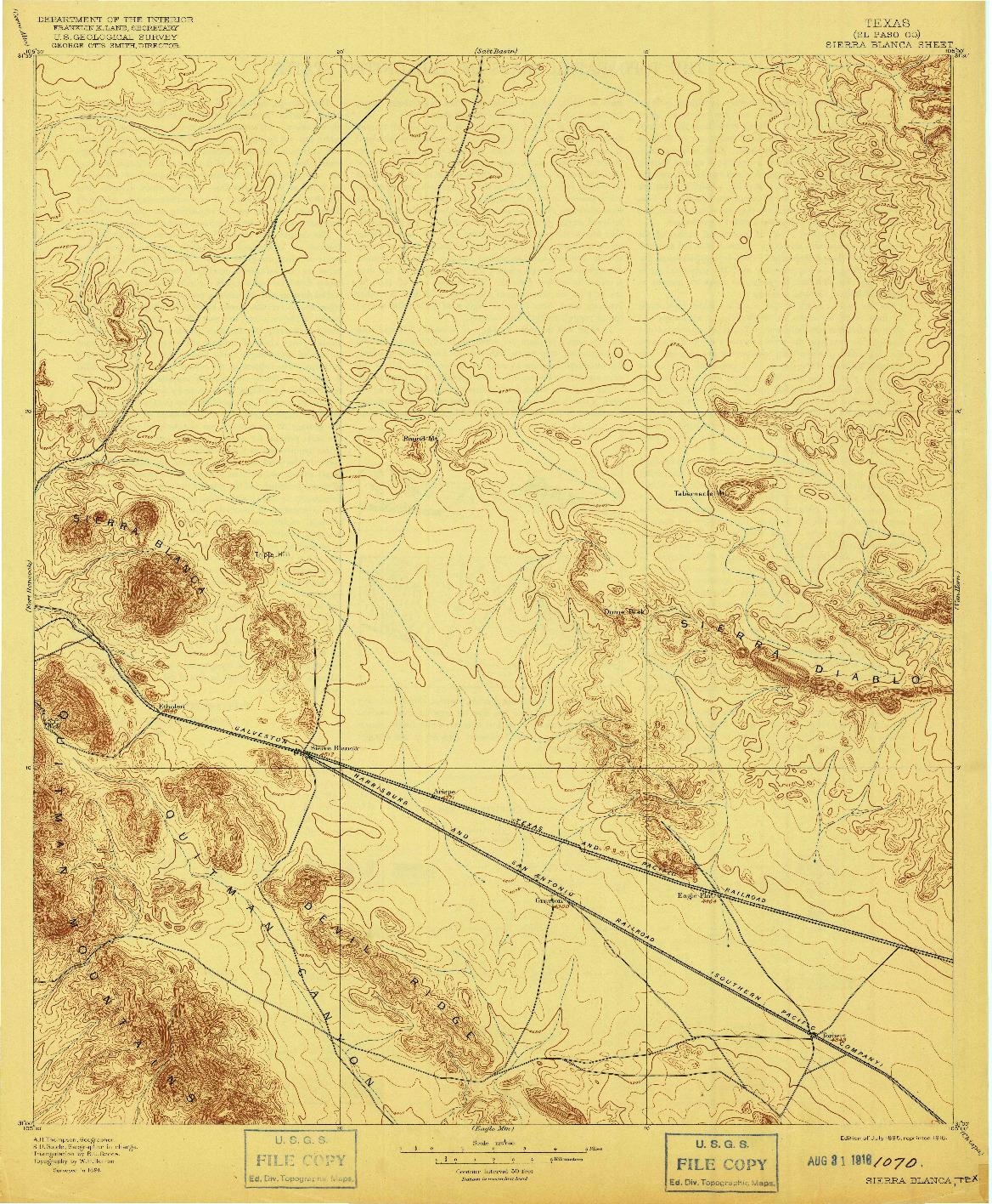 USGS 1:125000-SCALE QUADRANGLE FOR SIERRA BLANCA, TX 1895